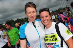 REPRO FREE Provision 310814 Donna Gahan and Carol Cashell at the Musgrave Triathlon in Inniscarra Reservoir, Farran Woods Cork  More than 500 staff from Musgrave SuperValu, Centra stores and their suppliers came out on the day for the triathlon, which is organised by Musgrave Retail Partners , to raise an incredible €250,000 for Breakthrough Cancer Research and Our Lady's Children's Hospital, Crumlin. Pic Michael Mac Sweeney/Provision