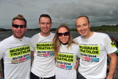 REPRO FREE Provision 310814 From Clonakilty: Alan Dromey, Harry Feeney, Katie Cullinan and James Northridge at the Musgrave Triathlon in Inniscarra Reservoir, Farran Woods Cork  More than 500 staff from Musgrave SuperValu, Centra stores and their suppliers came out on the day for the triathlon, which is organised by Musgrave Retail Partners , to raise an incredible €250,000 for Breakthrough Cancer Research and Our Lady's Children's Hospital, Crumlin. Pic Michael Mac Sweeney/Provision