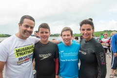 REPRO FREE Provision 300815 Eddie, Neddie and Nora Irwin with Karen O'Sullivan (blue)pictured at the Musgrave Triathlon, which took place in Farran Woods with 400  participants taking the plunge in this years charity triathlon challenge.  The  Musgrave Triathlon, which is now in its fourteenth year, has raised over €3.7 million  for Irish charities to date.  The fundraising target for the 2015 Musgrave Triathlon is €200,000, with  Breakthrough Cancer Research and Our Lady's Children's Hospital Crumlin the  beneficiaries of these charitable funds. To support the cause, you can donate online  via www.idonate.ie/MusgraveTriathlon. Alternatively SuperValu customers are  encouraged to pick up the charity trolley key instore for €2, with net proceeds  donated to the fund. Pic Michael Mac Sweeney/Provision
