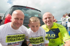 REPRO FREE Provision 300815 Edwin and Dave Cremin with Ben Delaney pictured at the Musgrave Triathlon, which took place in Farran Woods with 400  participants taking the plunge in this years charity triathlon challenge.  The  Musgrave Triathlon, which is now in its fourteenth year, has raised over €3.7 million  for Irish charities to date.  The fundraising target for the 2015 Musgrave Triathlon is €200,000, with  Breakthrough Cancer Research and Our Lady's Children's Hospital Crumlin the  beneficiaries of these charitable funds. To support the cause, you can donate online  via www.idonate.ie/MusgraveTriathlon. Alternatively SuperValu customers are  encouraged to pick up the charity trolley key instore for €2, with net proceeds  donated to the fund. Pic Michael Mac Sweeney/Provision
